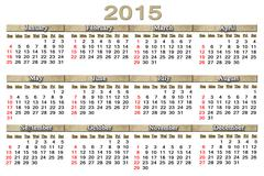 usual calendar for 2015 year - stock illustration