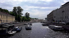 View at Moyka river with excursion ships Stock Footage