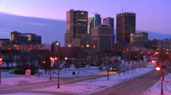 Downtown Winnipeg, Manitoba, Canada at dusk. Stock Footage
