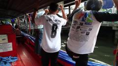 Floating boat throw khlongs in Bangkok Stock Footage