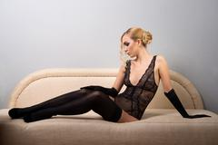 woman in black stockings - stock photo