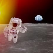 high quality isolated composite astronaut in space; elements of this image fu - stock illustration