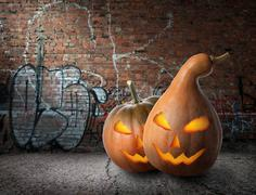 Pumpkins and graffiti - stock photo