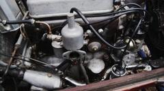 Lea Francis Classic Car Engine - Tilt Stock Footage