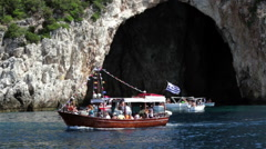 Tourist boat near the caves of mainland Greece. Stock Footage