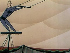 Animated Man On The Flying Trapeze Stock Footage