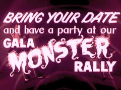 "Halloween Movie Theater Announcement ""Bring Your Date To Our Monster Rally"" Stock Footage"