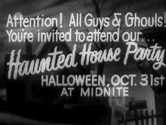 "Halloween Movie Theater Announcement ""Haunted House Party"" Stock Footage"