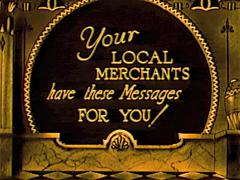 "Vintage Theater Ad ""Local Merchant Messages ""1930 Stock Footage"