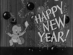 "New Year's Movie Theater Announcement ""Animated New Years Baby"" Stock Footage"