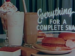 "Vintage Movie Theater Clip ""Everything For A Complete Snack"" Stock Footage"