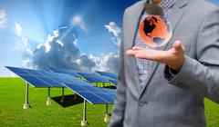 Sustainable energy concept, solar farm with businessman carry virtual world Stock Illustration