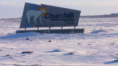 A sign welcomes visitors to Churchill, Manitoba, Canada. Stock Footage
