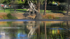 Mammoth Elephant at La Brea Tar Pits in Miracle Mile, California Stock Footage