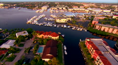 Aerial Over Yachts In Florida Bay Stock Footage