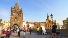 4K Timelapse of Charles Bridge in Prague Stock Footage