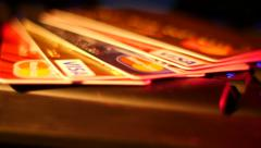 4K UHD Footage Credit Cards on Keyboard Macro Stock Footage
