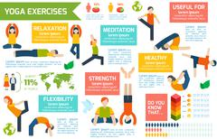 Yoga infographics set Stock Illustration