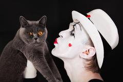 Mime with a gray british cat Stock Photos