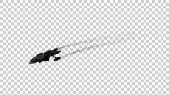 Spacefighter Spaceship  flyby on transparent background Stock Footage
