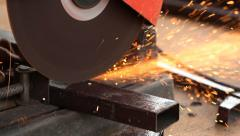 Cutting metal and spark with cutting machine Stock Footage