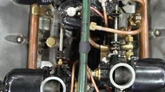 Lagonda Classic Racing Car Carburettor Revving Stock Footage