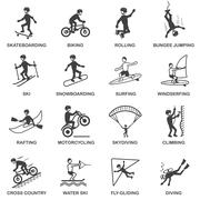 Extreme Sports Icons Set Stock Illustration