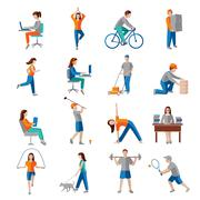 Physical activity icons - stock illustration