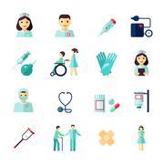 Nurse icon flat - stock illustration