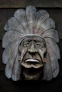 American indian wooden art Stock Photos