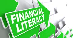 Financial Literacy on Green Arrow. Stock Illustration