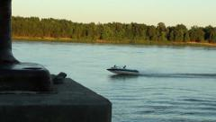Motor Boat Enjoying The Mississippi River Stock Footage