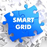 Smart Grid on Blue Puzzle. Stock Illustration