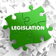 Legislation on Green Puzzle. - stock illustration