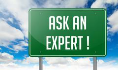 Ask An Expert on Green Highway Signpost. - stock illustration