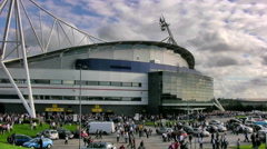 Crowd leaving the Reebok stadium timelapse Stock Footage
