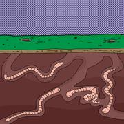 Group of worms tunneling Stock Illustration