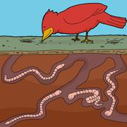 Bird pecking for worms Stock Illustration