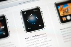 apple computers website with apple watch features - stock photo