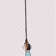 Helpless woman holding rope Stock Illustration
