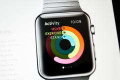 apple computers website with apple watch activity app - stock photo