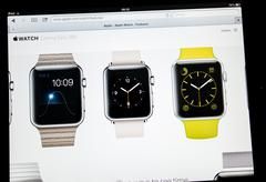 apple computers website announcement apple watch - stock photo