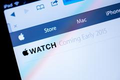 apple computers website announcing apple watch in 2015 - stock photo