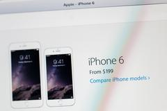apple website with the new price announced for iphone 6 - stock photo