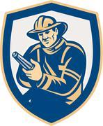 Stock Illustration of fireman firefighter aiming fire hose shield retro