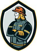 fireman firefighter arms folded shield retro - stock illustration