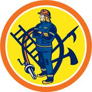 fireman firefighter fire hose ladder circle - stock illustration