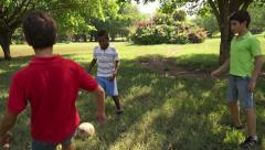 4of18 Boys, children, kids playing soccer, football in park, team - stock footage