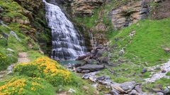 Waterfall under Monte Perdido at Ordesa Valley Stock Footage