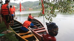 Asian people boating head dragon boat on the river,  Asia Stock Footage